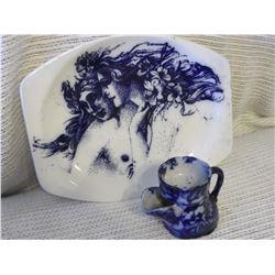 Flow Blue Platter & Shaving Mug- Meakin, England (No Chips or Cracks)