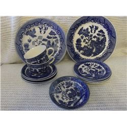Vintage Blue Willow China (13 Pieces, 1 OC Japan)