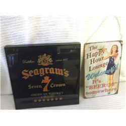 Seagrams G;ass Sign & Lounge Tin Sign