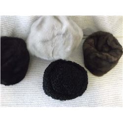 Ladies Fur Hats (4)(3 Mink, 1 Persian Lamb)