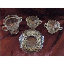 Depression Glass Spooner, Cream & Sugar& Silver Overlay