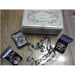 Mother Chocolate Tin Chest & Misc Jewellery