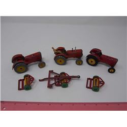 3 Massey 44 Dinky Toy Tractor, 3 Dinky Mowers