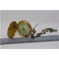 Swiss hunter Case Pocket Watch W/ Chain