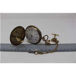 M.J. Tobius 18K Key Wing hunter Case Pocket Watch With Chain, Working