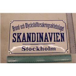 Porcelain Sign (Brand Och Olycksfallforsakringsaktiebolaget Skandinavien Stockholm)