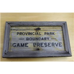 "Obsolete Wooden Provincial Park Sign 16 3/4"" x 9 5/8"""
