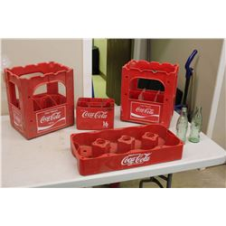 Plastic Coca Cola Crates (4) W/ 2 Bottles