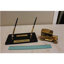 Office Desk Pen Set & Gold Vintage Vehicle