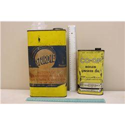 Sturdie Transmission Fluid Tin & A Co-Op Linseed Oil Tin
