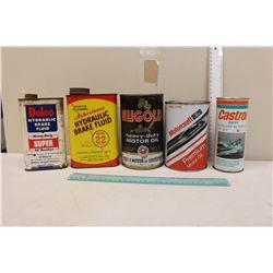 Assortment of Oil Tins (5)(Nugold, Delco, Castrol, Etc)