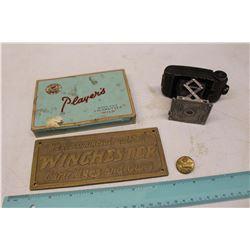 Vintage Collectibles: Winchester Cartridges & Guns Plaque, R.C.A.F Pin, Etc