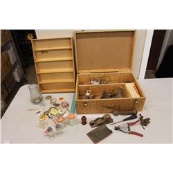 Wooden Box w/Vintage Contents