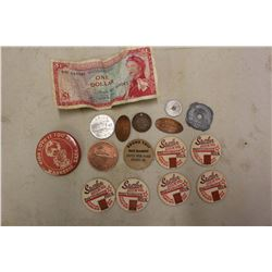 Lot Of Vintage Coins And Milk Cap Lids, (1 Hitler 1944 Coin)