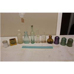 Vintage Glass: Purple Insulator, Green Insulators, Medicine Bottles, Etc