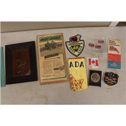 Lot of Vintage Misc: John Deere, Texaco, Badges, Etc