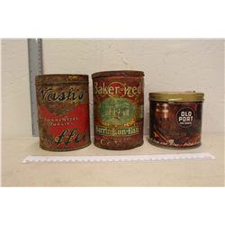 Vintage Tins (3)(Nash's, Baker-Ized & Old Port)