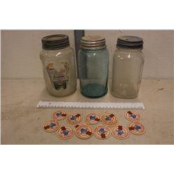 Vintage Jars (3)(Blue Mason, Nabob) & Milk Bottle Caps