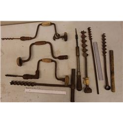 Lot of Vintage Hand Drills And Related