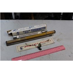 Vintage Thermometers W/ Original Cases (2) And Fish Hook