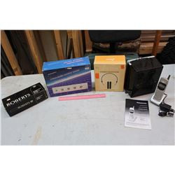 Lot of Misc: Roberts Microphone, Archer Video/Audio Control Center, Panasonic Portable Phone, Etc