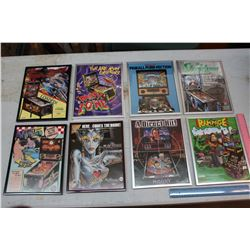 Pinball/Video Game Framed Flyers- Original (8)