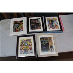 Framed Arcade/Pinball Flyers- All Original (5)
