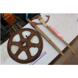 Wheel, Spike Puller & A Pick Axe
