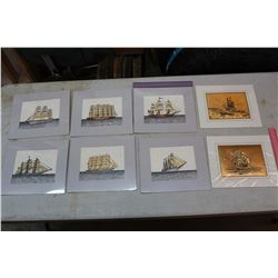 Sailing Ship Prints (8)(Matted & Ready for Framing)