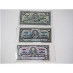 Lot Of 1937 Canadian $1, $5, $10 Bank Notes