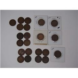Lot OF Various Dates Vintage 1 Cent Canadian Coins 1876, 1886, 1888, ect.
