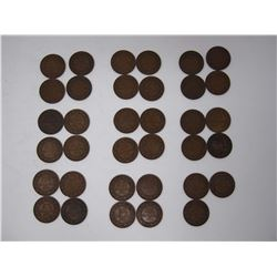 Lot OF 35 Vintage Canadian 1 Cent Coins All 1914