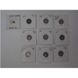 Lot OF Various 5 & 10 Cent Silver Canadian Coins & Mini Krugerrand Coin Gold Plated
