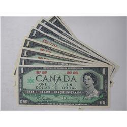 1967 Centennial Canadian $1 Bank Notes ( X10)