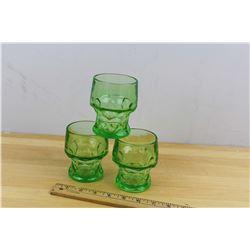 Lot (3) Uranium Depression Glass Cups