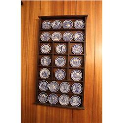 """Set Of Franklin Mint Royal Copenhagen Mini Plates W/ Display & Books 27"""" x 14.5"""""""