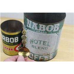 Vintage Nabob Advertising Spoon And Tins