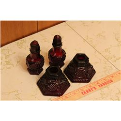 Cape Cod Ruby Red Avon - Salt & Pepper & Candle Holders
