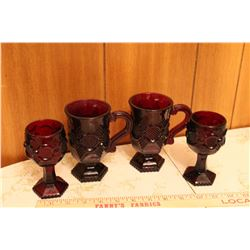 Cape Cod Ruby Red Avon - Goblets And Mugs