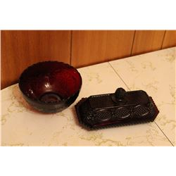Cape Cod Ruby Red Avon - Butter Dish & Bowl
