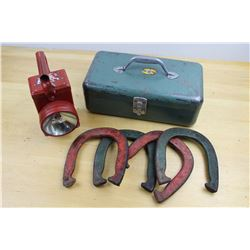 Lot Of Vintage Misc. (Metal Tackle Box, Flashlight And Horseshoes Game)