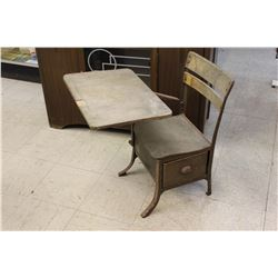 Antique Wood And Steel School Desk