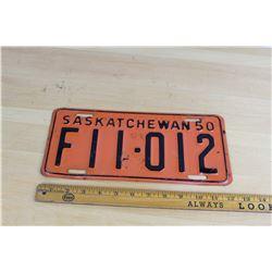 1950 Saskatchewan Licence Plate