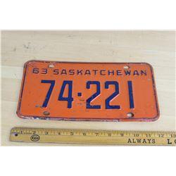 1963 Saskatchewan Licence Plate