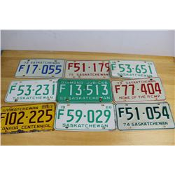 Lot Of Saskatchewan Farm Plates (9)