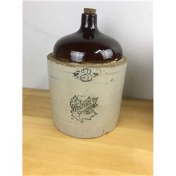 Antique 3 Gallon Western Stoneware Crock Jug