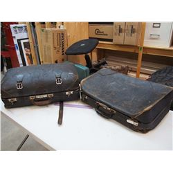 Vintage Black Leather Suitcases (2)