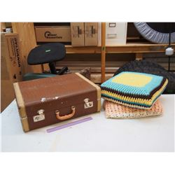 Vintage Suitcase W/ Vintage Throw Pillows