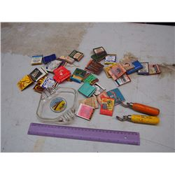 Lot Of Vintage Advertising, (Matchbooks, Wooden Handled Bottle Openers, Tisdale Ashtray)