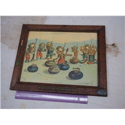 """Dingbats"" Curling Picture W/ Original Frame"